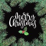 Vrolijk Kerstmispatroon met spar grens, hulst en het van letters voorzien Waterverf handdrawn illustratie stock illustratie
