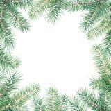 Vrolijk Kerstmispatroon met sparrengrens Waterverf handdrawn illustratie op wit wordt geïsoleerd dat royalty-vrije illustratie