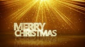 Vrolijk Kerstmisteken en gouden stralen Royalty-vrije Stock Foto's