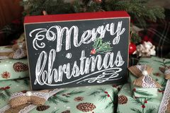 Vrolijk Kerstmisteken op Giften royalty-vrije stock foto's