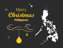 Vrolijk Kerstmisthema met kaart van Filippijnen Stock Afbeeldingen
