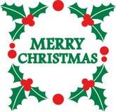 Vrolijk Kerstmiswoord in maretakkroon vector illustratie