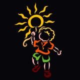 Vrolijk kind die de zon zoals een ballon dragen royalty-vrije illustratie
