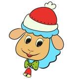 Vrolijk lam met blauwe wol, vakantie en Kerstmis stock illustratie