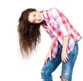 Vrolijk leuk tienermeisje 17-18 die jaar, op een witte backgro wordt geïsoleerd Royalty-vrije Stock Foto's