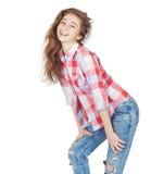 Vrolijk leuk tienermeisje 17-18 die jaar, op een witte backgro wordt geïsoleerd Stock Afbeelding