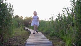 Vrolijk loopt weinig jongen met het spel van het vriendenmeisje en loopt op houten brug in aard onder groen gras de achterstand i stock video