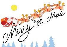 Vrolijk x mas van de kerstman en rendier vector illustratie