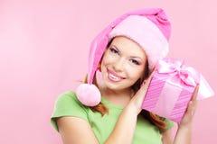 Vrolijk meisje met gift Stock Foto