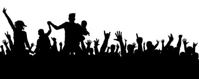 Vrolijk menigtesilhouet De partijmensen, juichen toe Het overleg van de ventilatorsdans, disco Handen omhoog stock illustratie