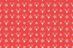 Vrolijk naadloos Kerstmispatroon Rendier hoofdachtergrond vector illustratie