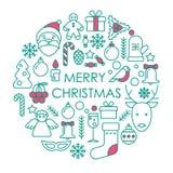 Vrolijk postcar Kerstmis of Nieuwjaar Stock Afbeeldingen