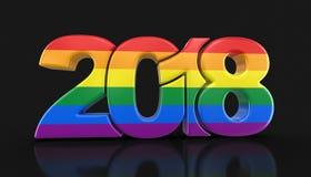 Vrolijk Pride Color New Year 2018 Royalty-vrije Stock Afbeeldingen