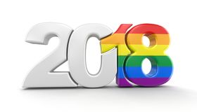Vrolijk Pride Color New Year 2018 Stock Foto