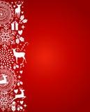 Vrolijk rood de prentbriefkaar vectordossier van Kerstmiselementen. stock illustratie