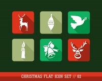 Vrolijke app van het Kerstmis kleurrijke Web vlakke geplaatste pictogrammen. Royalty-vrije Stock Foto