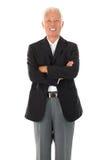 Vrolijke Aziatische hogere zakenman Stock Foto's