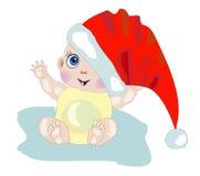 Vrolijke baby in hoed van de Kerstman Stock Afbeeldingen