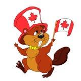 Vrolijke beeldverhaalbever met een vlag De vector van de karakterbever De gelukkige Dag van Canada Illustratie op witte achtergro Royalty-vrije Stock Foto's