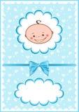 Vrolijke blauwe babyskaart. Royalty-vrije Stock Foto