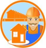 Vrolijke bouwer met huis in rond Stock Foto's