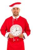 Vrolijke chef-kok met klok stock afbeelding