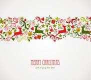 Vrolijke de elementengrens van Kerstmisdecoratie. Royalty-vrije Stock Foto's