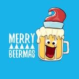 Vrolijke de groetkaart van beermas vector grappige Kerstmis met het beeldverhaalkarakter van het bierglas en rode die santahoed o vector illustratie