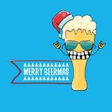 Vrolijke de groetkaart van beermas vector grappige Kerstmis met het beeldverhaalkarakter van het bierglas en rode die santahoed o stock illustratie