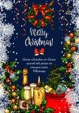 Vrolijke de groetkaart van de Kerstmis vectorschets royalty-vrije illustratie