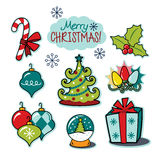 Vrolijke de illustratiereeks van de Kerstmis gelukkige vakantie Stock Foto