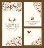 Vrolijke de kaartreeks van de Kerstmisgroet Stock Fotografie