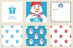 Vrolijke de kaartreeks van de Kerstmisgroet Naadloze patronen Leuke sneeuwman Royalty-vrije Stock Afbeeldingen