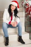 Vrolijke de Kerstmanhoed van het vrouwenverstand Stock Fotografie