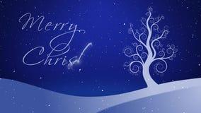Vrolijke de Kerstmiswinter Witte het Groeien Boom 4K royalty-vrije illustratie