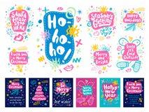Vrolijke de schetsstijl van het Kerstmis Gelukkige Nieuwjaar Stock Afbeelding