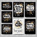 Vrolijke de schetsstijl van het Kerstmis Gelukkige Nieuwjaar Stock Foto's