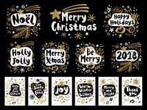 Vrolijke de schetsstijl van het Kerstmis Gelukkige Nieuwjaar Stock Foto