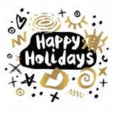 Vrolijke de schetsstijl van het Kerstmis Gelukkige Nieuwjaar Royalty-vrije Stock Foto's