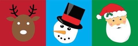 Vrolijke de Sneeuwmankerstman van het Kerstmisrendier Stock Afbeeldingen