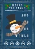 Vrolijke de uitnodigingskaart van de Kerstmis vectorsneeuwman Stock Afbeeldingen