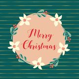 Vrolijke de vakantieillustratie van Kerstmishand getrokken vectorkerstmis Maretak en bloemkroon op wintertalingsachtergrond met g vector illustratie