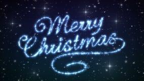 Vrolijke de Verschijningsanimatie van de Kerstmis Mooie Tekst in de Hemel van de Nachtwinter Tekst van Sterren wordt gemaakt die  royalty-vrije illustratie