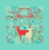 Vrolijke de vorm en de liefdepictogrammen van het Kerstmisrendier achter Royalty-vrije Stock Foto's
