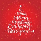 Vrolijke de vormtypografie van de Kerstmis met de hand geschreven boom vector illustratie