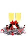 Vrolijke die Kerstmis met champagne wordt geïsoleerd Royalty-vrije Stock Afbeelding