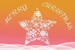 Vrolijke die Kerstmisgroet boven ster binnen wordt geschreven Royalty-vrije Stock Afbeeldingen
