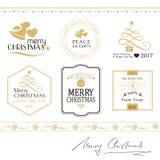 Vrolijke die Kerstmispictogrammen, grenzen op wit in goud en zwarte worden geïsoleerd Stock Fotografie