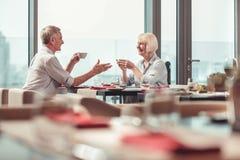 Vrolijke echtgenoot en vrouw die lunch in een restaurant hebben stock afbeelding