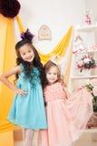 Vrolijke elegante meisjes die bij viering stellen Royalty-vrije Stock Foto